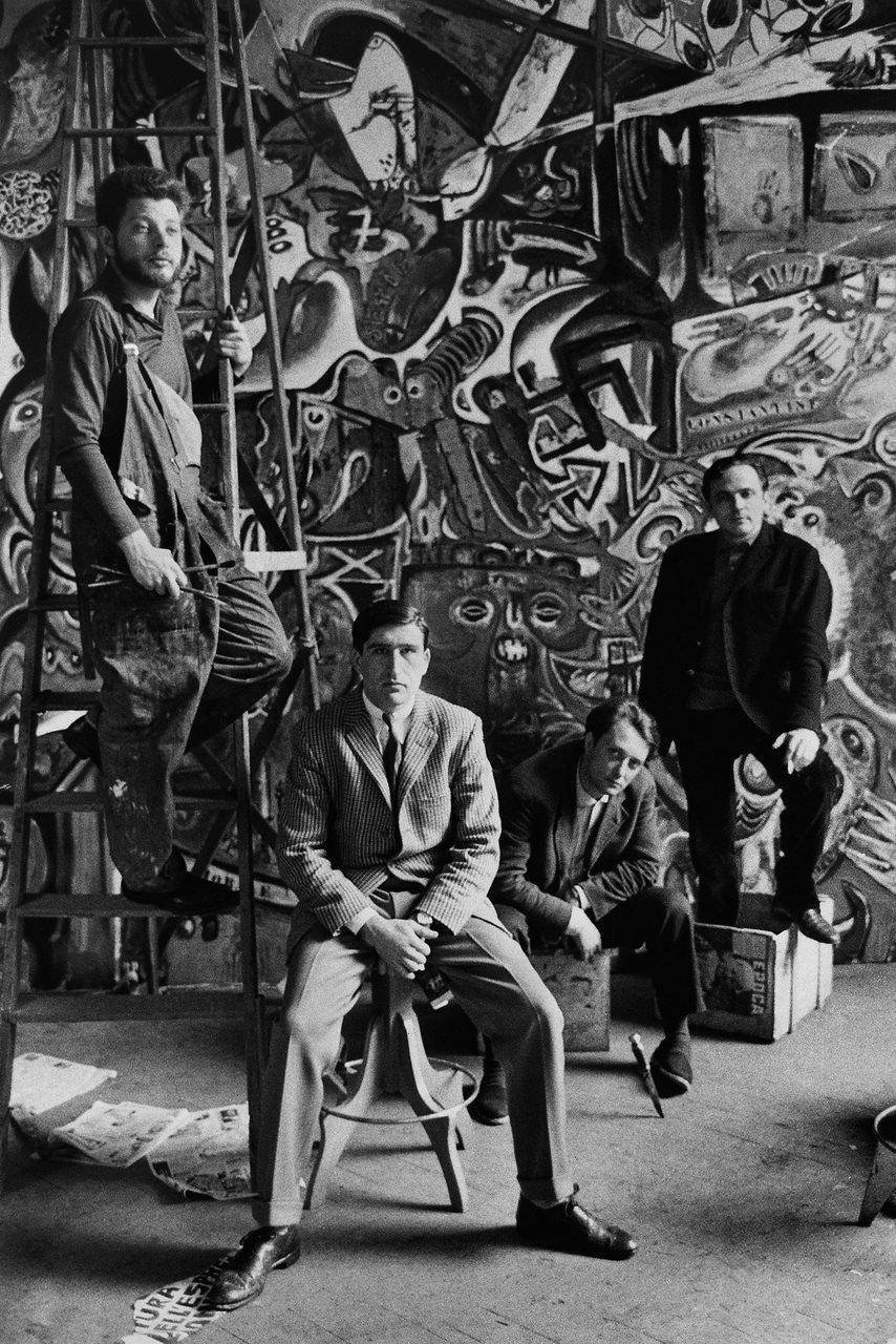 Gruppo pittori Pittori alle prese con un murales Roma, anni '50